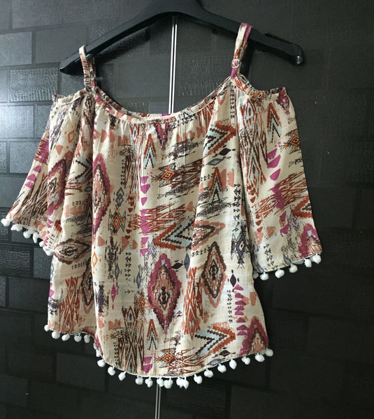 Beautiful Brown Printed Cold - Shoulder Top with Pom Poms