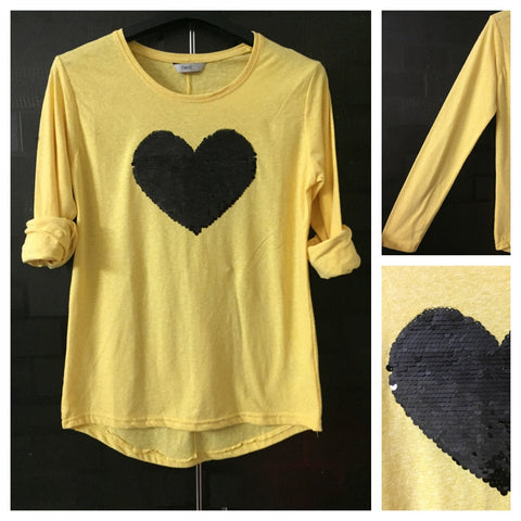 Sweet Heart - White Threads on Yellow Tee with Black Sequin Heart