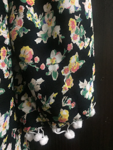 Beautiful Printed Black Floral Cold - Shoulder Top with Pom Poms - #FTFY - For The Fun Years