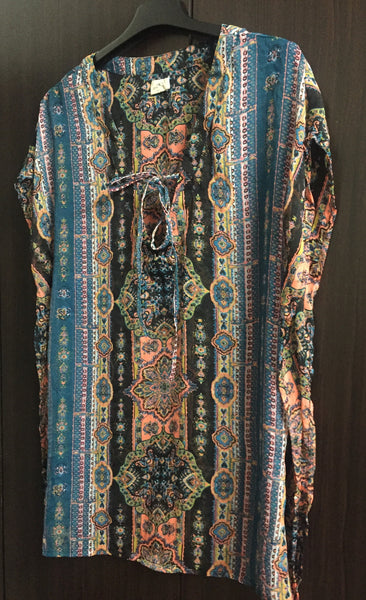 Multicolor Vertical Print Top