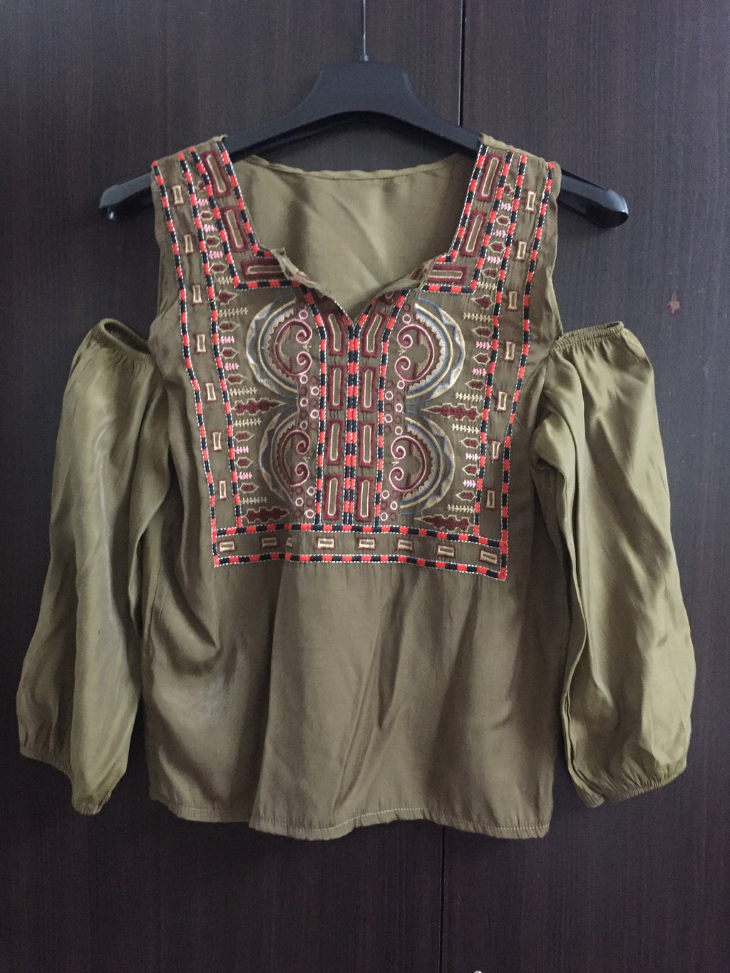 Fitted Cold-Shoulder Top - Brown with front embroidery.