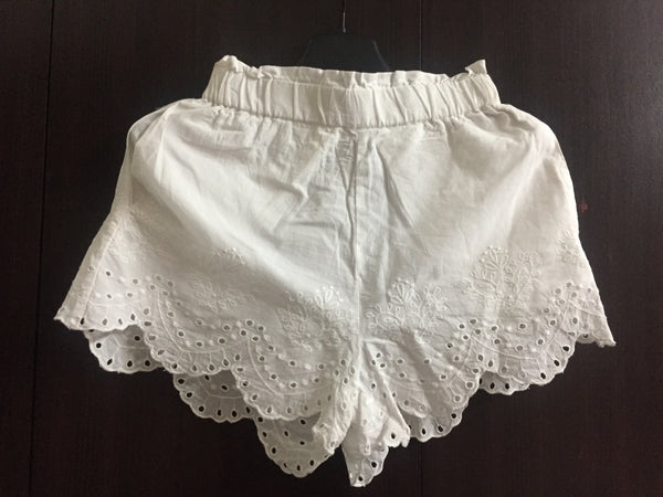 White Cut Work and Embroidery Shorts