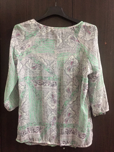 Grey-ish Purple Simple Top with Green Prints