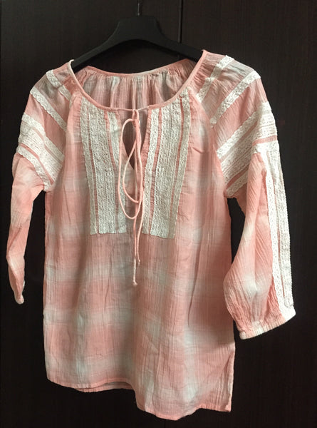 Casual Cotton Pink Check Top with Lace Work.