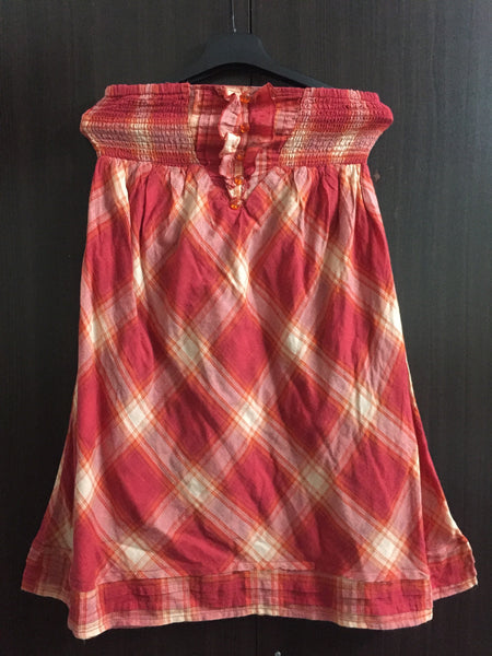Orange - Red Check Tube Dress with cotton lining