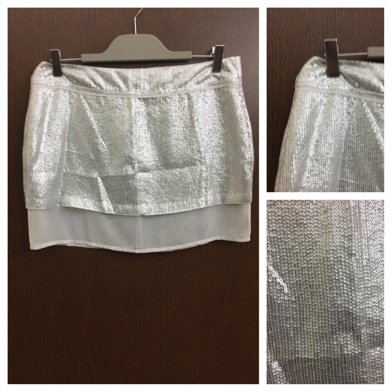 2 layered - Silver sequined Party Skirt.