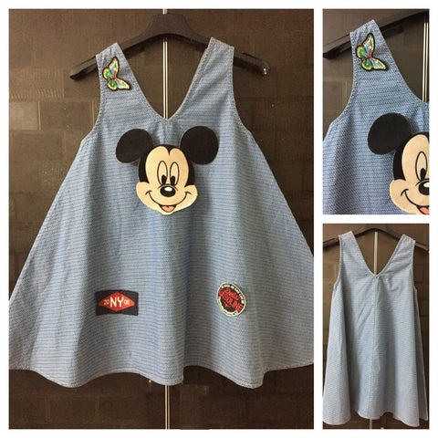 Trendy Patches - Loose A- Shaped Printed Denim Top with Big Mickey and more