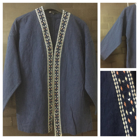 Little Warm - navy Blue Self Design Shrug with Cream & Pink Thread Work