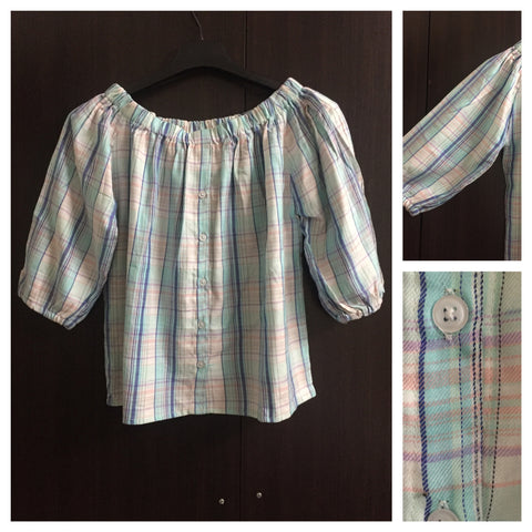 Checks - Light Blue/White/Pink Off shoulder top with full front buttons