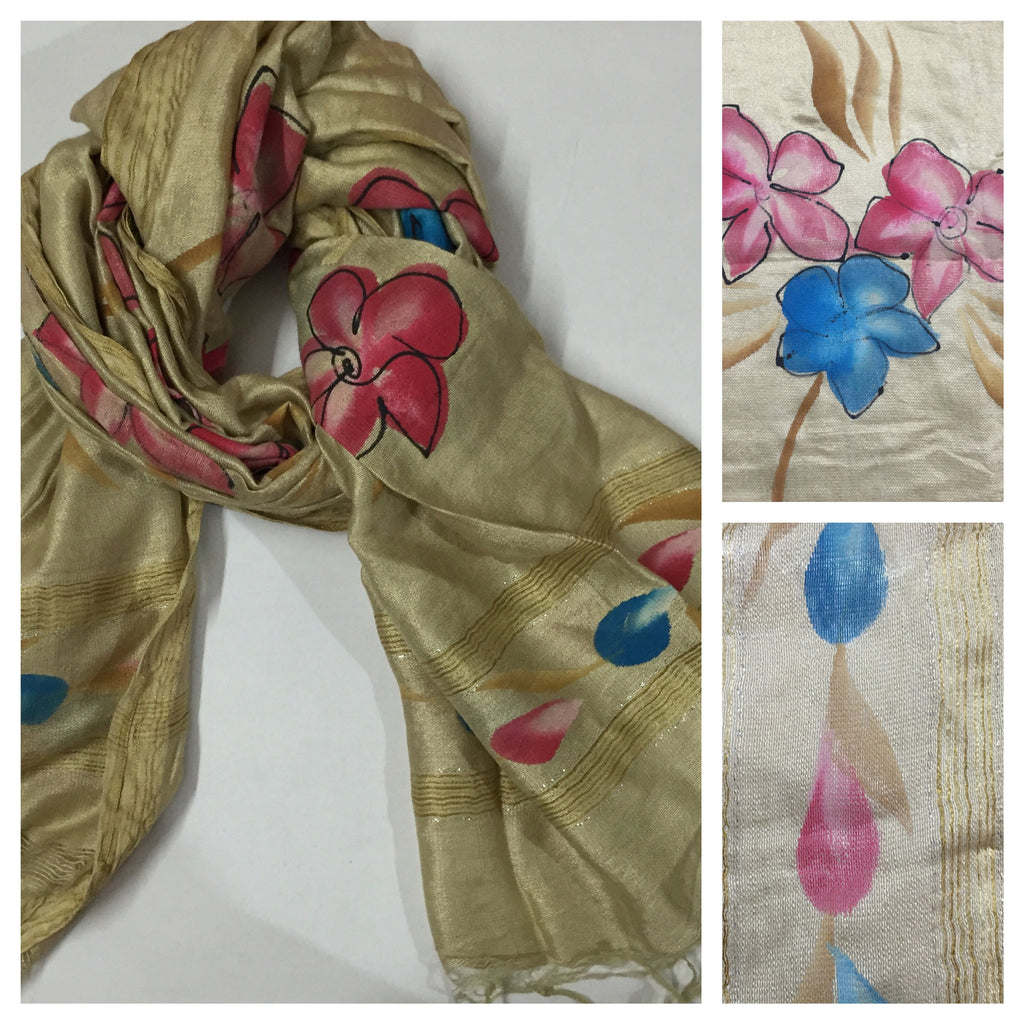 Rectangular Water Color Flowers in Pink & Blue Scarf