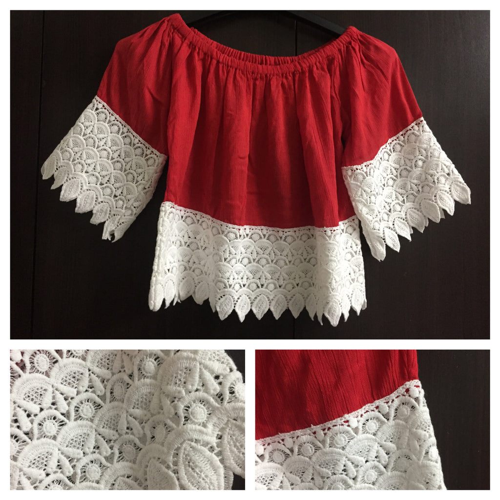 Red - Short, Off Shoulder Top with Broad lace.