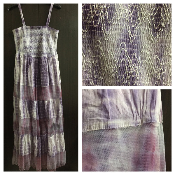 Purple Tie and Dye Dress with Matching net