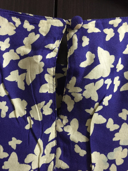 Cream Butterfly Print Indigo Blue Dress - #FTFY - For The Fun Years