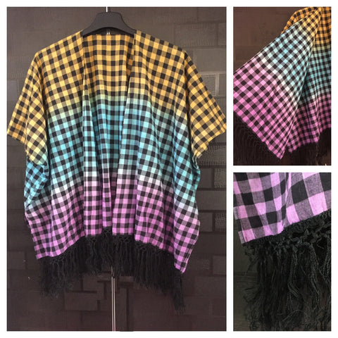 Little Checks - 3 colored Casual Shrug with Black tassels
