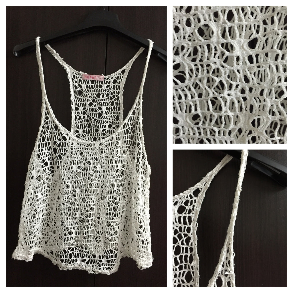 Funky White Mesh Net Top - #FTFY - For The Fun Years
