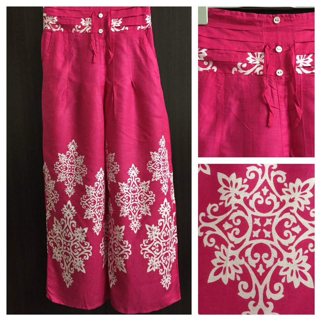 Pretty Pink Printed Plazo Style Trousers