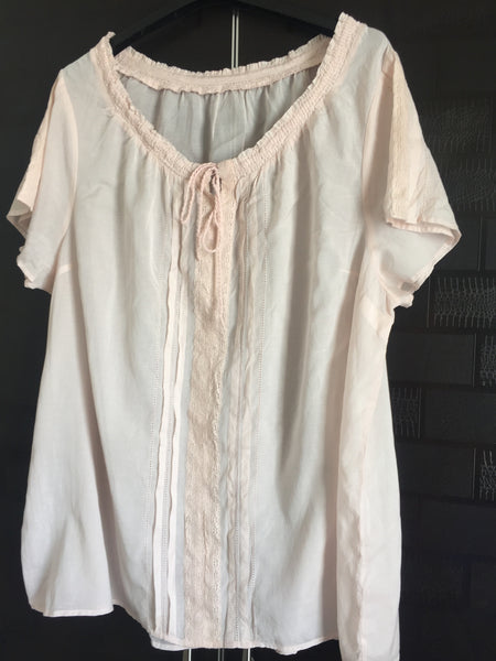 Lightest Pink Cotton Top with lace design