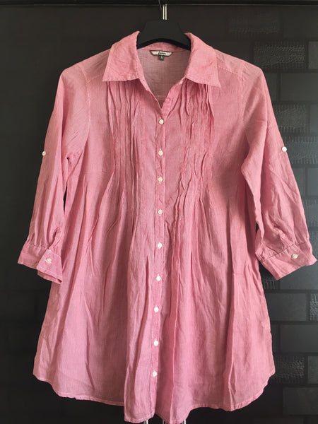 Little flared, Casual and lightweight, pink striped shirt
