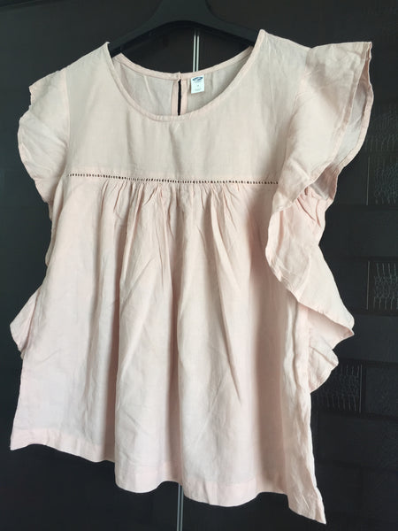 Light Pink Casual Top with Ruffled Sleeves