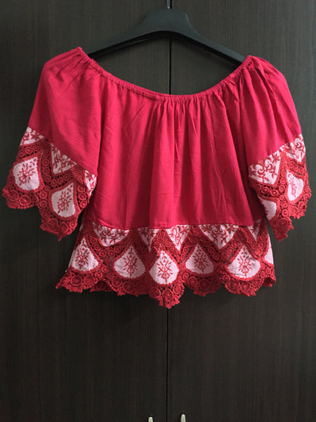 Beautiful Off - Shoulder Crop Top - Magenta - #FTFY - For The Fun Years