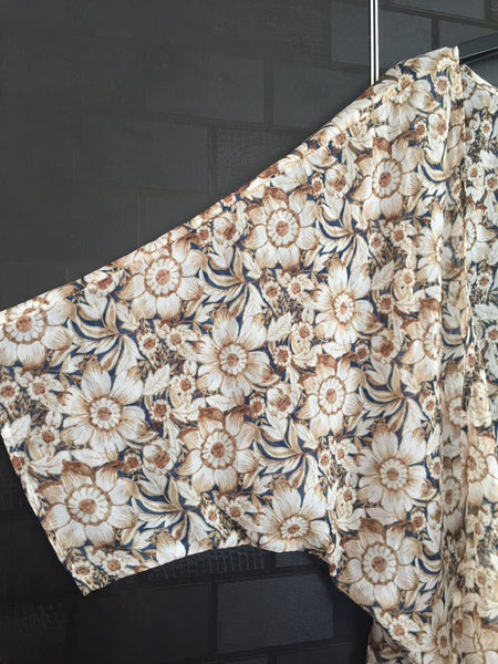 Brown flowers on Blue Casual Shrug - #FTFY - For The Fun Years