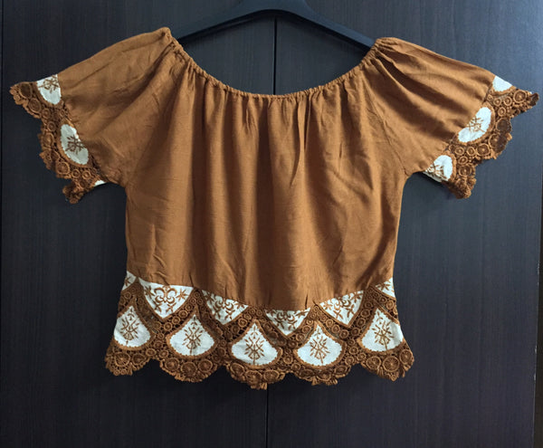 Beautiful Off - Shoulder Crop Top - Brown - #FTFY - For The Fun Years