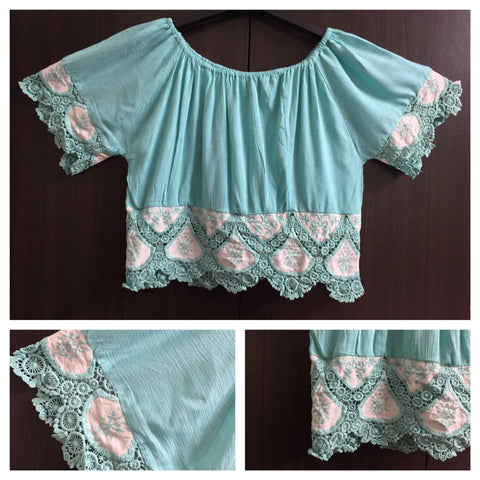 Beautiful Off - Shoulder Crop Top - Sky Blue - #FTFY - For The Fun Years
