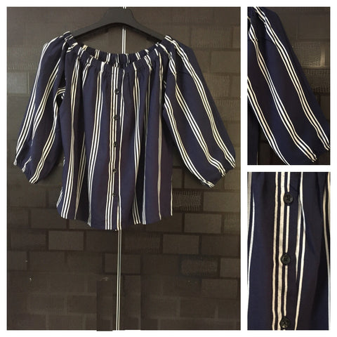 Stripes - Off Shoulder -Blue and 3 Thin White Stripes Off Shoulder Top