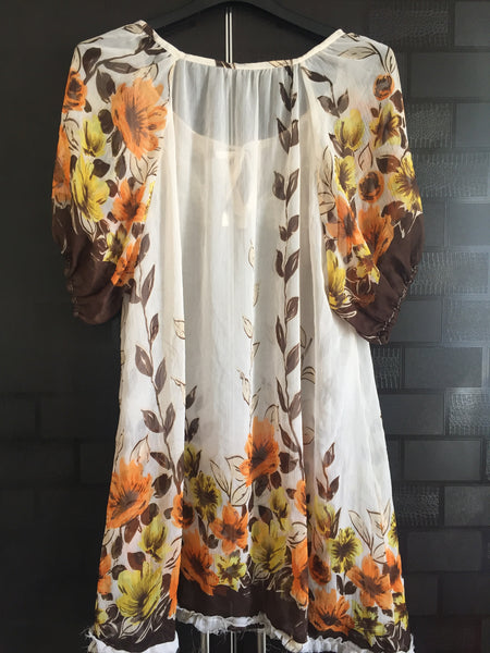 Soft - Light Yellow Long top with Flowers