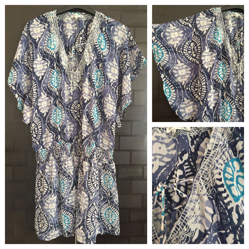 Printed Blue Long top with silver thread work