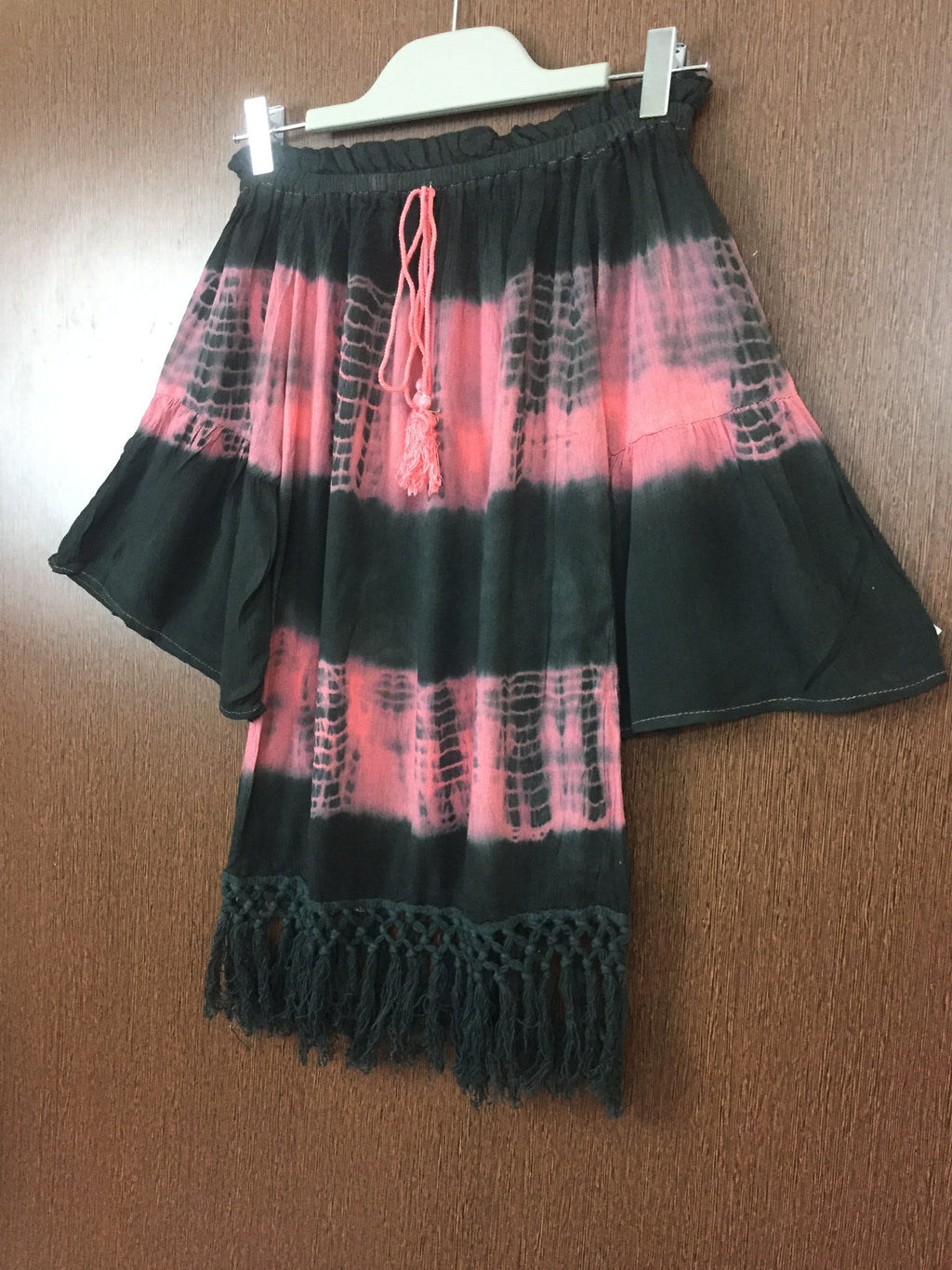 2 Colors - Tasseled - Pink and Black Off shoulder Top
