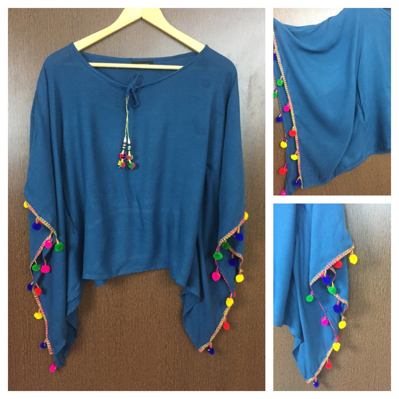 Plain Poncho Style Top - Ink Blue with Colorful Pom-Poms.