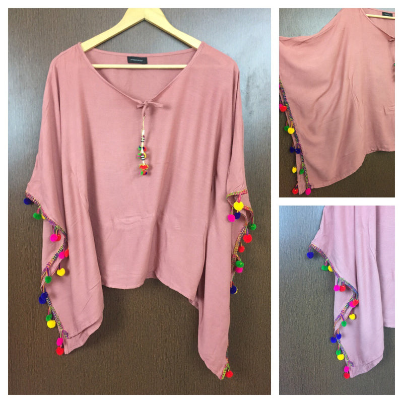 Plain Poncho Style Top - Pastel Pink with Colorful Pom-Poms.