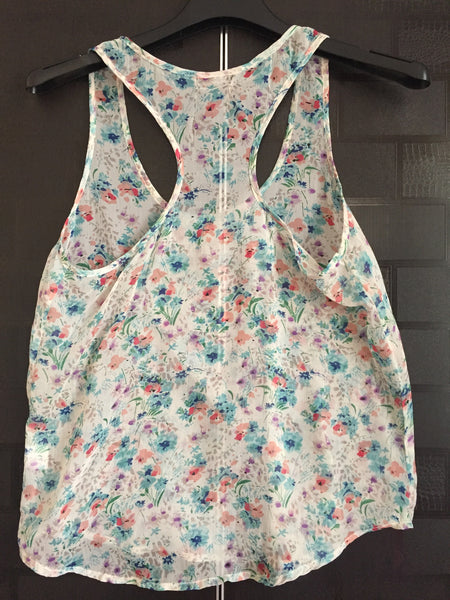 Light Green Floral Racer Back Top