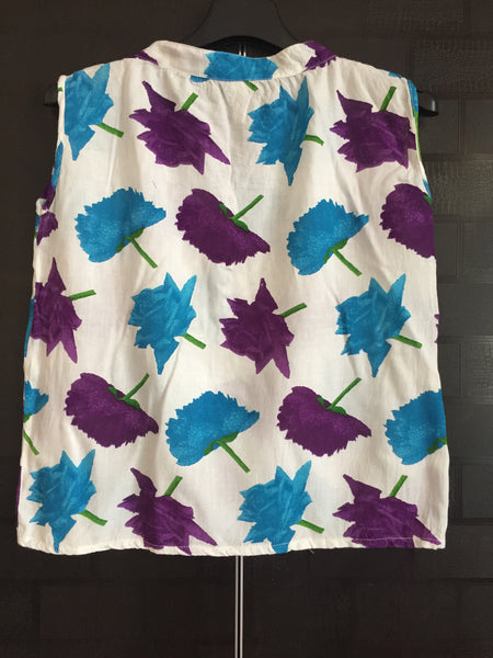 Vibrant Blue-Purple flowers Sleeveless Top