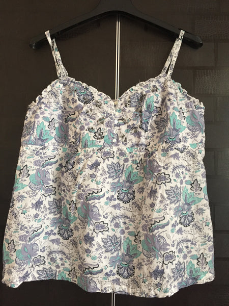 Printed Spaghetti Top with Sequin work - Blue/Green