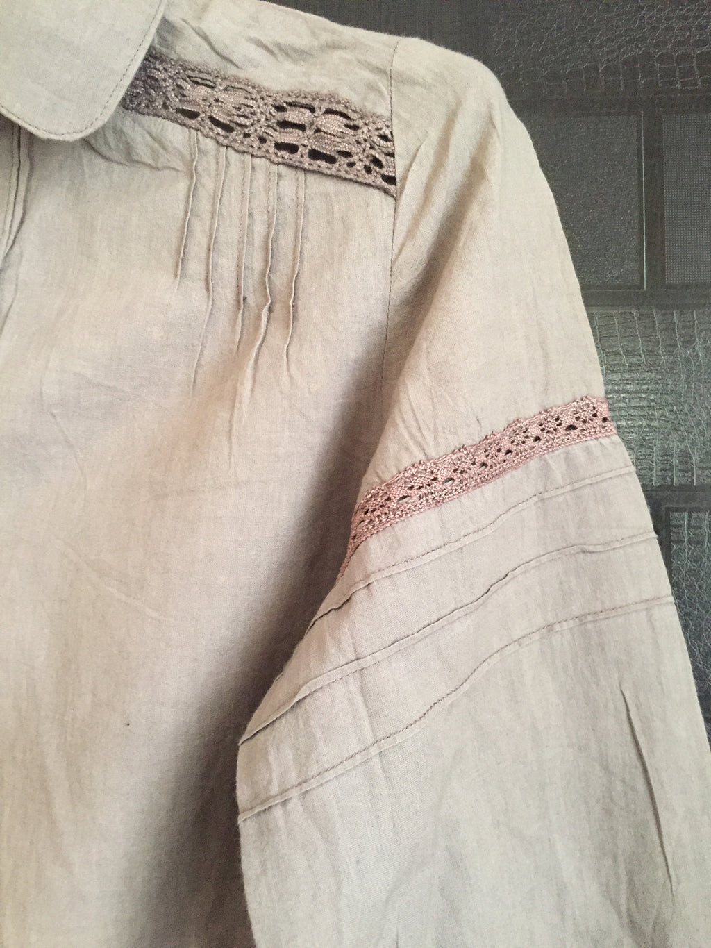 Light Brown Casual Top with lace work on arms