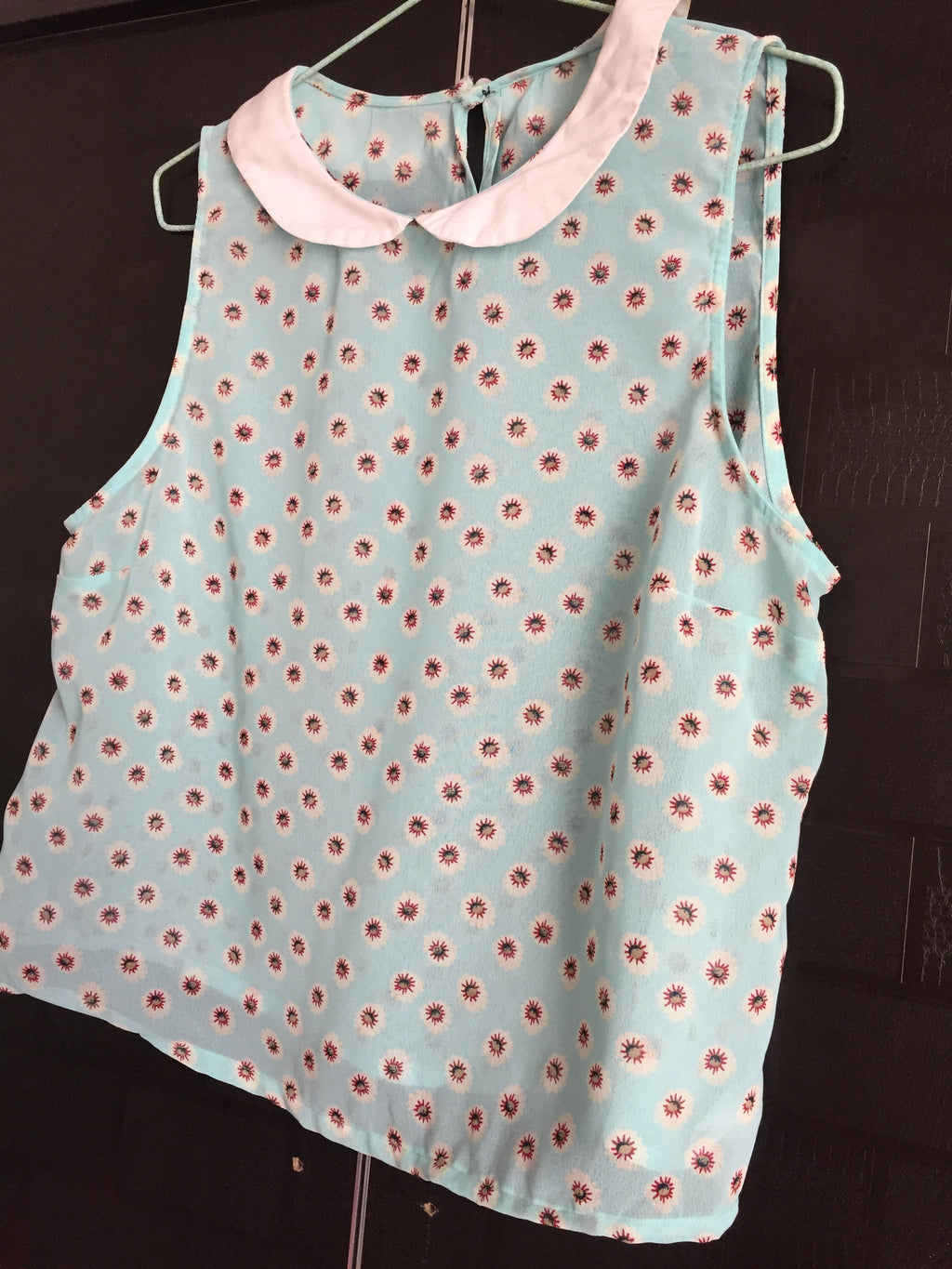 Collared Short Blue Top with little flowers