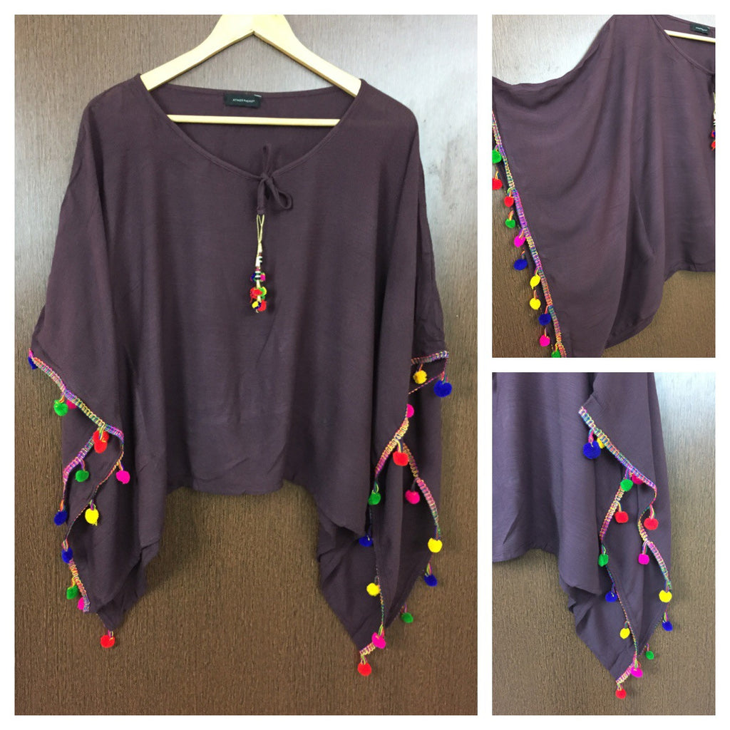 Plain Poncho Style Top - Maroon with Colorful Pom-Poms.