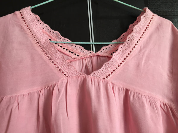 Pretty Pink Cut-work and thread work top