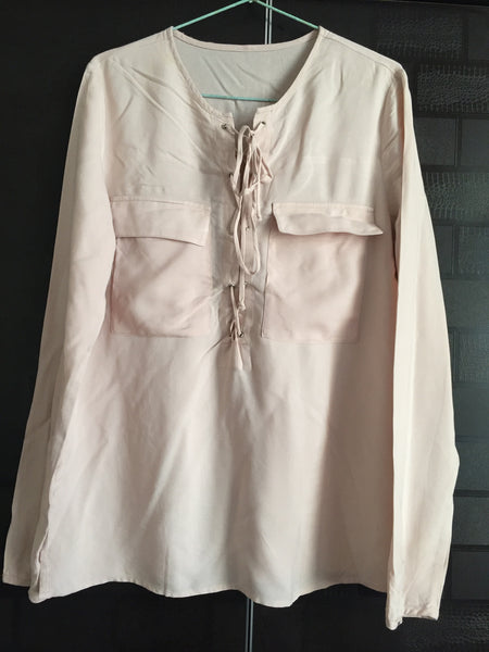 Simple Light Pink Top with Front zig-zag knots
