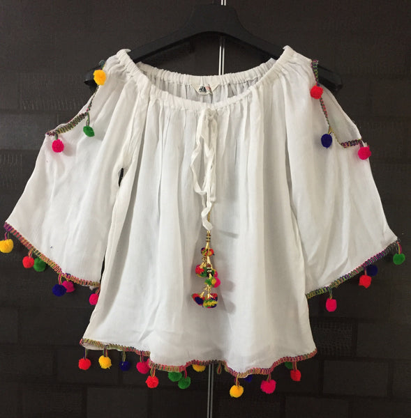 Pretty White On - Off Shoulder - Arm Revealing Top with Multicolor pom-poms