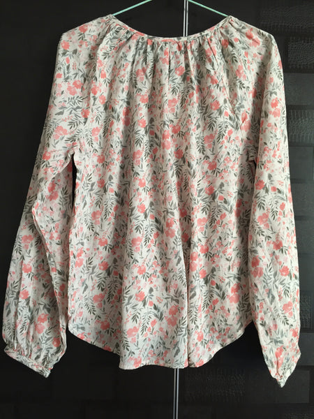 Elegant Pink Floral Top with full front buttons