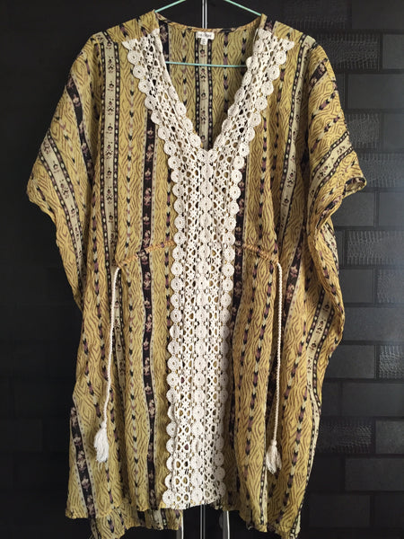 Side Tie, Poncho Style long top with croatia lace