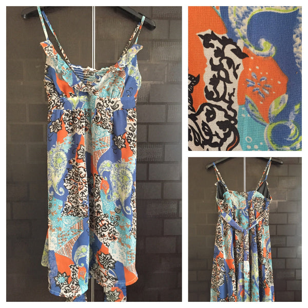 Printed Spaghetti Dress with Black Lining