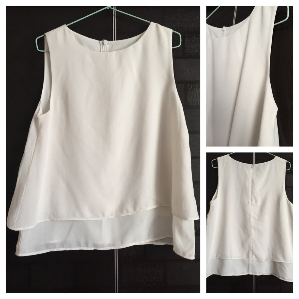 Double Layered, White sleeveless Top