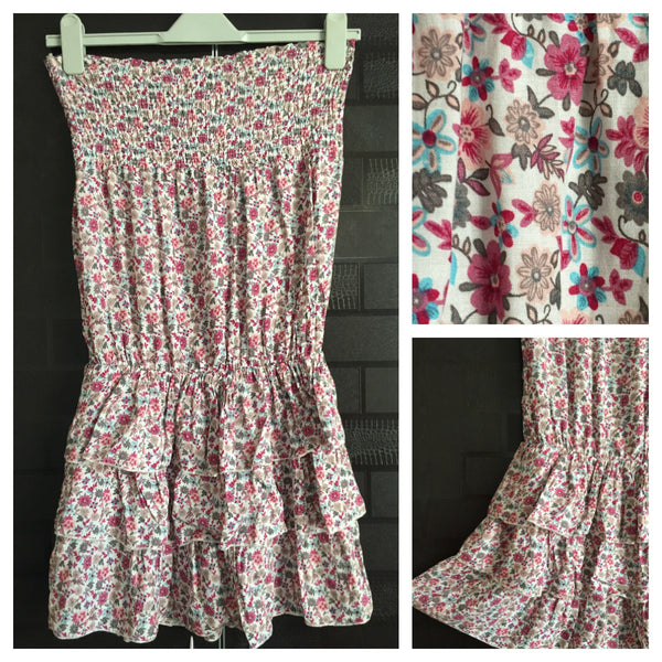 Short Floral Tube Dress
