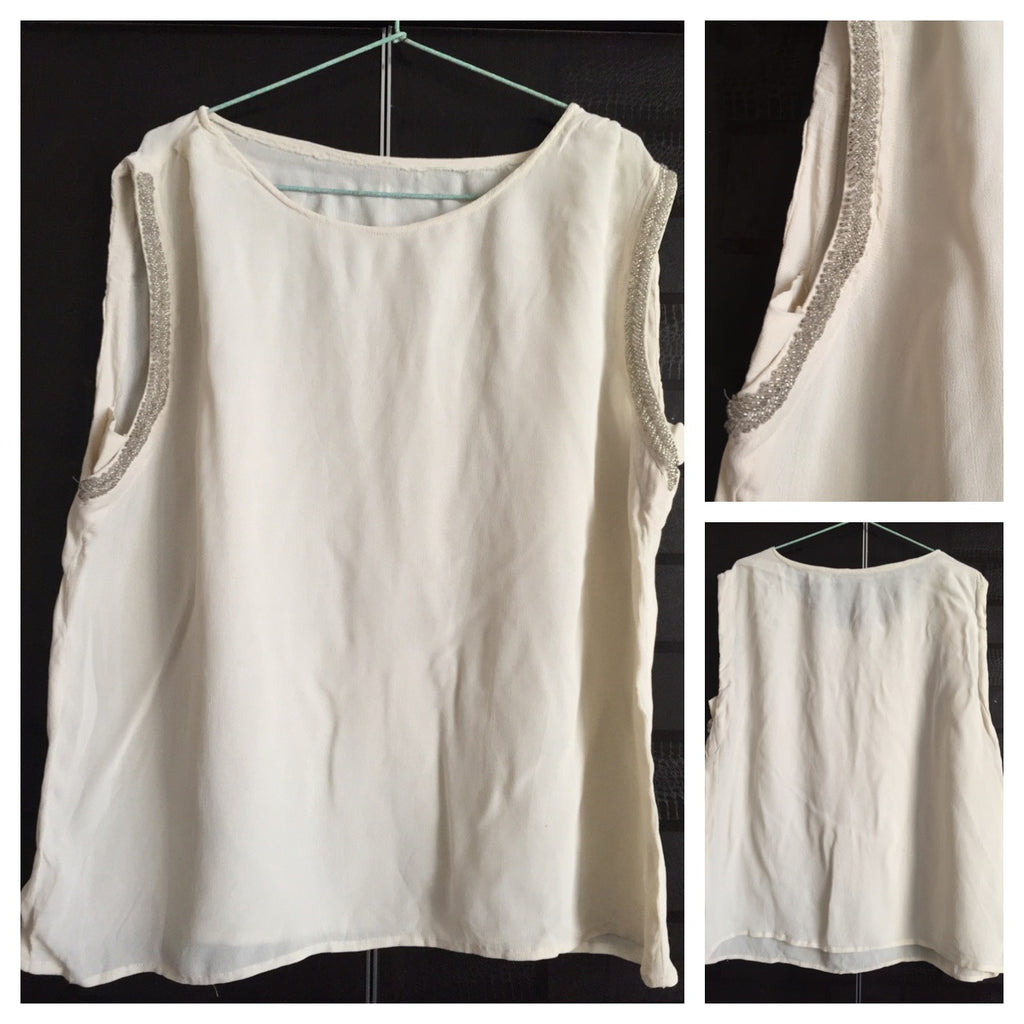 Casual Cream Sleeveless top with sequin