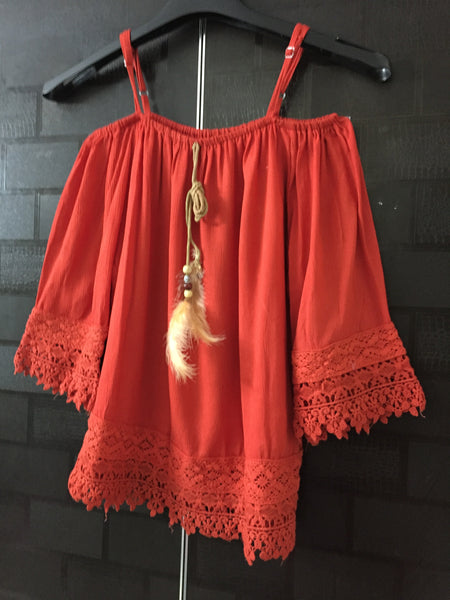 Red Cold Shoulder Top with lace and feather