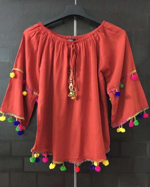 Festive Rust Off shoulder Top with colorful Pom Poms